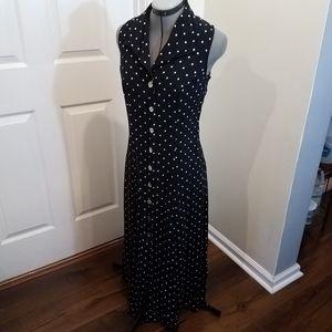 Vintage 90s navy and white polka dot maxi dress